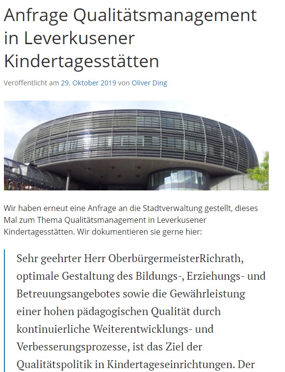 Screenshot der Anfrage Qualitätsmanagement in Leverkusener Kindertagesstätten des Stadtelternrats Leverkusen