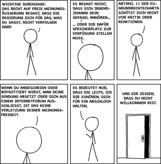 Meinungsfreiheit (Free Speech), Comic von Randall Munroe (xkcd.com), deutsch von Anatol Stefanowitsch (sprachlog.de)