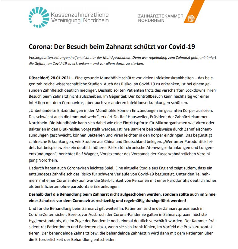 Screenshot Pressemitteilung der ZÄK Nordrhein